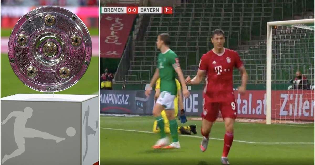 Bayern Munich win the Bundesliga title as Robert Lewandowski scores 46th goal