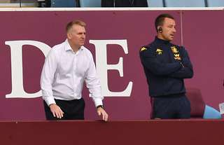 Aston Villa manager Dean Smith and his assistant John Terry