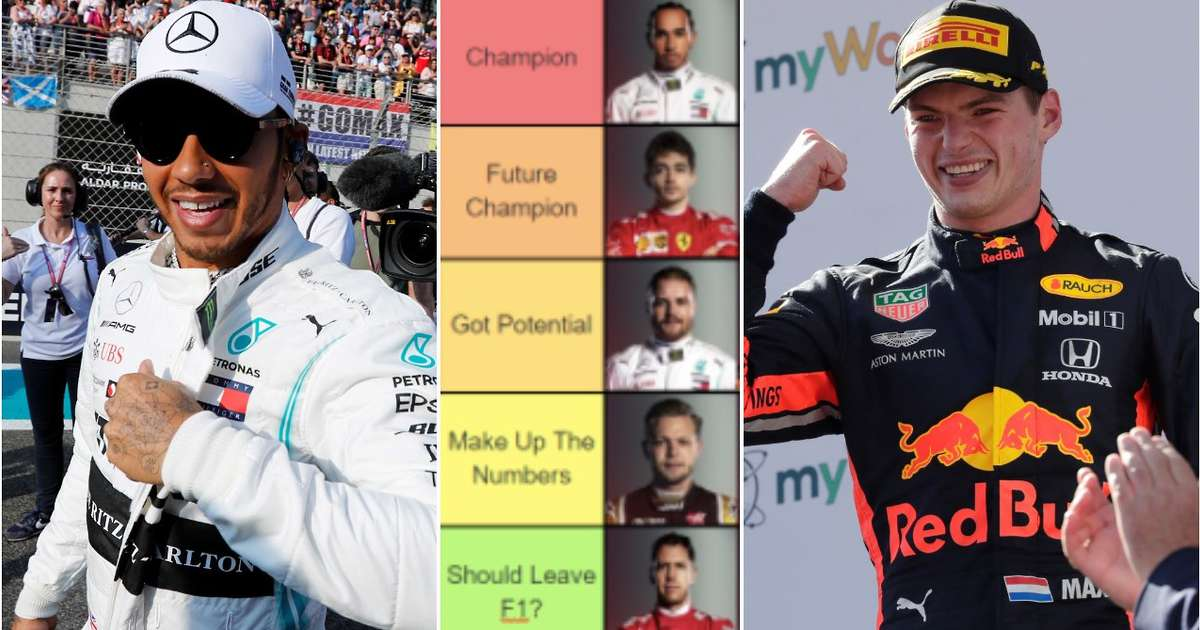 F1 drivers ahead of the 2020 season have been ranked from 'Champion' to 'Should leave F1'
