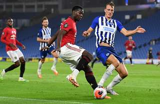 Man Utd's Paul Pogba on the ball vs Brighton