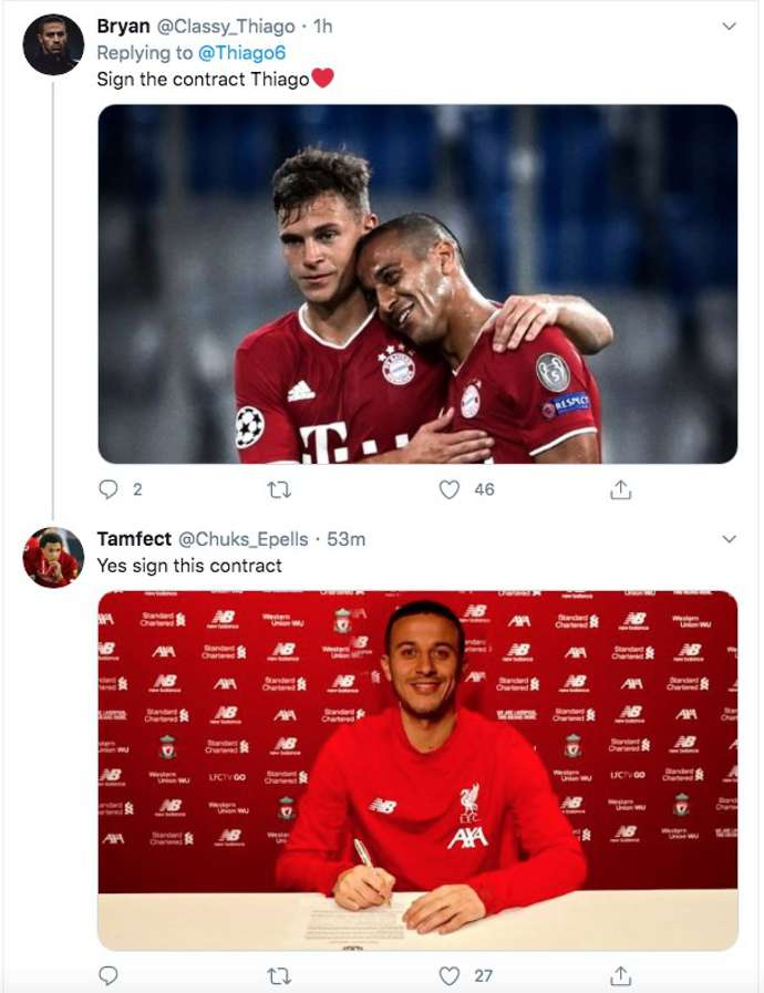 Thiago Alcantara Liverpool Fans Desperately Want Him To Sign After Bayern Munich 4 1 Chelsea Givemesport