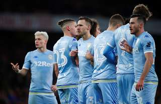 Barry Douglas stands in the wall - Leeds versus Arsenal
