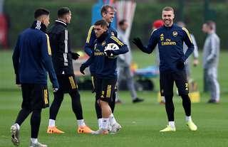 Calum Chambers in Arsenal training