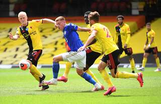Will Hughes in action for Watford against Leicester