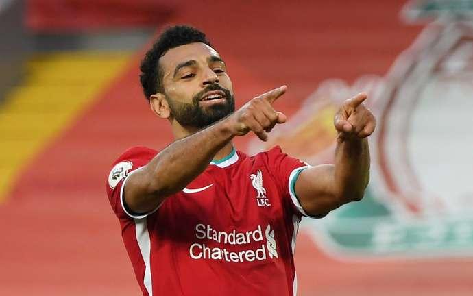 Salah celebrates vs Leeds