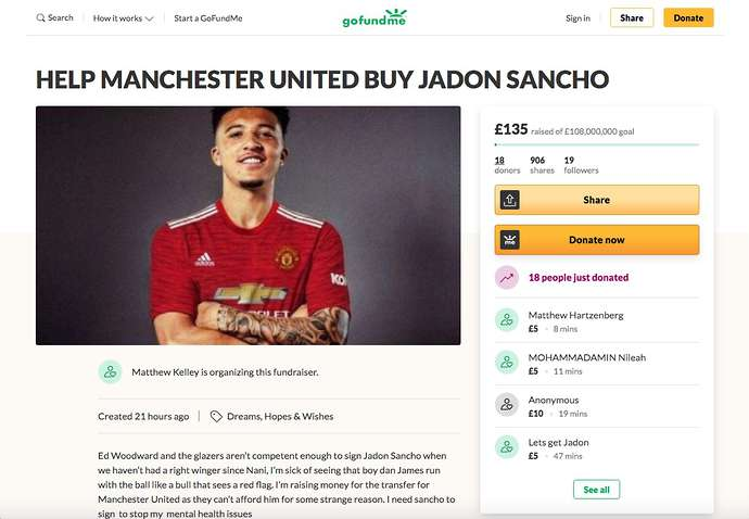 Tampilan penggalangan dana peduli Manchester United gaet Jadon Sancho. Sumber: Give Me Sport