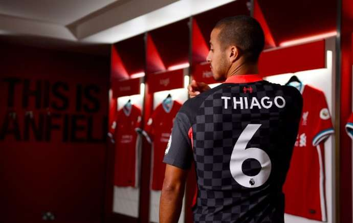 Thiago in the Liverpool away kit