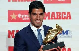 Luis Suarez collected the European Golden Shoe for 2016