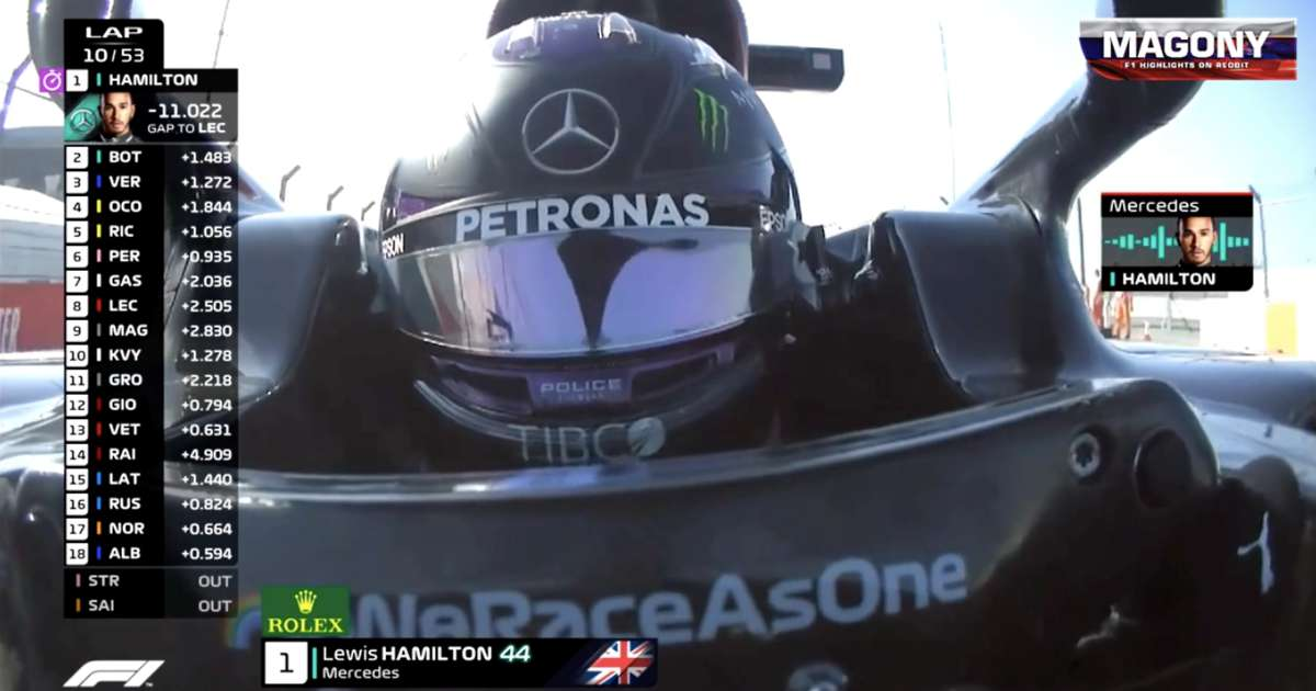 Lewis Hamilton's explicit reaction on team radio to 10-second penalty at Russian Grand Prix