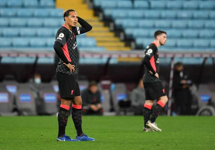 Van Dijk in action vs Aston Villa