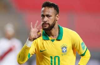 Neymar Jr celebrates scoring for Brazil