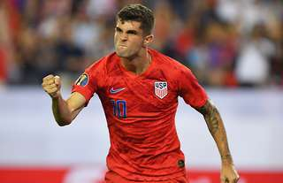 Christian Pulisic in action for the USA