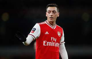 Mesut Ozil looks frustrated