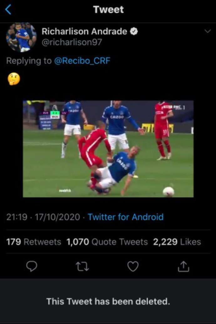 Richarlison's tweet after the Thiago challenge angered Liverpool fans