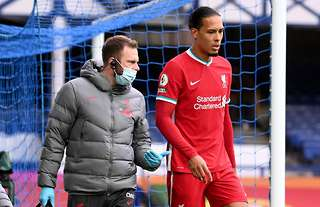 Liverpool star Virgil van Dijk suffered an ACL injury vs Everton