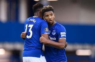 Everton's Yerry Mina and Mason Holgate