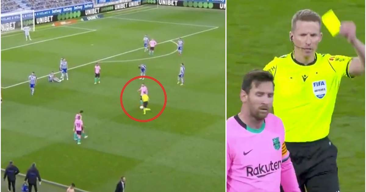 Lionel Messi boots ball towards referee during Alaves vs Barca - avoids being sent off