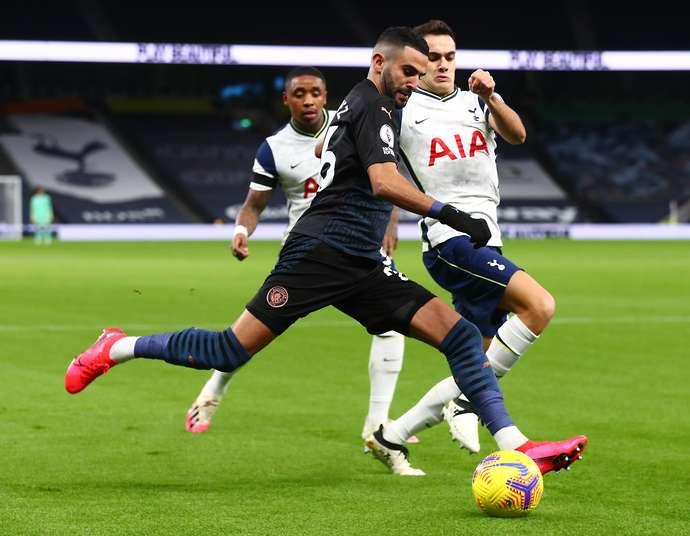 Sergio Reguilon battles with Riyad Mahrez in Spurs vs Man City